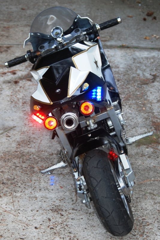 Strobes Are Lit Showing The Mounting On Side Of Bike These Do A Great Job And Can Be Seen From All Directions Even In Day Light